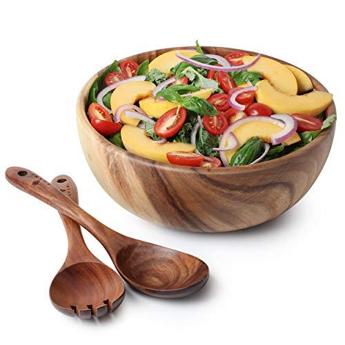 Acacia Wood Salad Bowl with Servers...